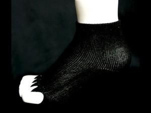 バンブー健康指ぬきソックス(黒染)